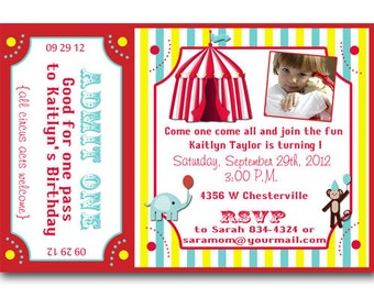 Circus Ticket Birthday Party Invitations Announcement Digital File Or Printed FREE SHIPPING