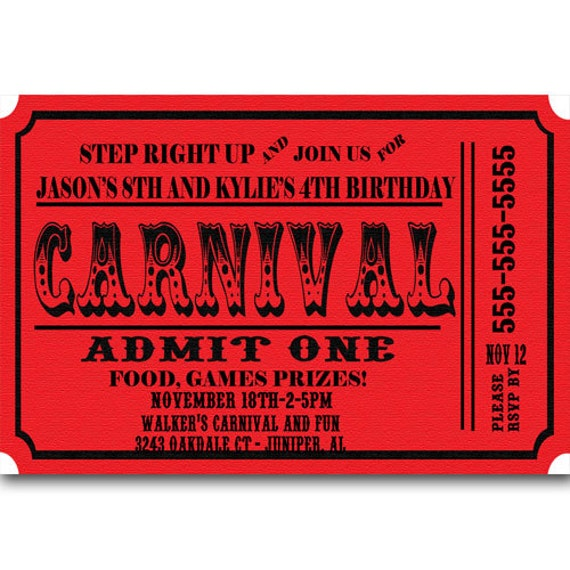 Carnival Ticket Birthday Party Invitations Announcement