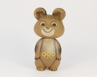 Vintage toy, USSR Moscow 1980 Summer Olympic Games, Plastic Olympic Bear, Olympic MISHKA, Russian Bear Misha
