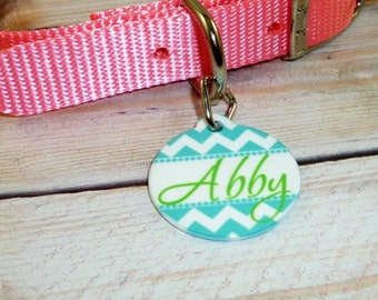 Personalized Pet ID tag - Pet Tag - Choose your Chevron - Dog Tag- Cat Tag {Double sided} Teal  Chevron -  Pet name tag