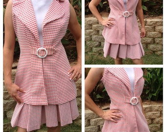 1960's Union Made Red and white Plaid Pleated Drop Waist Mod Dress with Vest by C.M. Coventry