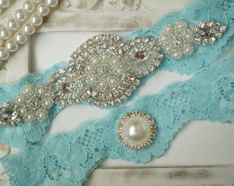 Wedding Garter Set, Bridal Garter Set, Vintage Wedding, Crystal Garter Set, Something Blue