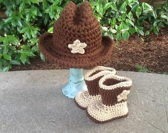 Crochet baby cowboy set, photo prop