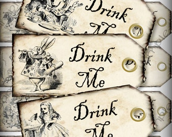 Drink Me Alice in Wonderland Favor Tags Light Grunge Printable Instant Download Digital Collage