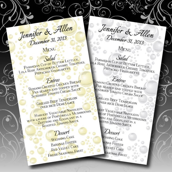Bubbly Wedding Menu New Years Wedding Menus Gold Silver Custom Made Bubbles Digital DIY Signs Printable Download  Do it Yourself 065