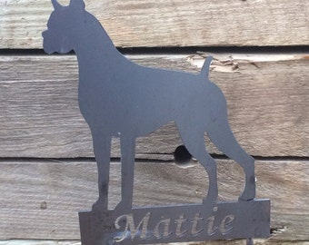 Metal Boxer Yard Stake Sign - Garden Decoration - Indoor/Outdoor Planter Decor