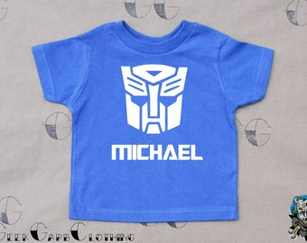 Personalized Autobot with Name Kids and Infants T-Shirt or Infant Bodysuit - Birthday bodysuit, Birthday T-Shirt, Party Shirt