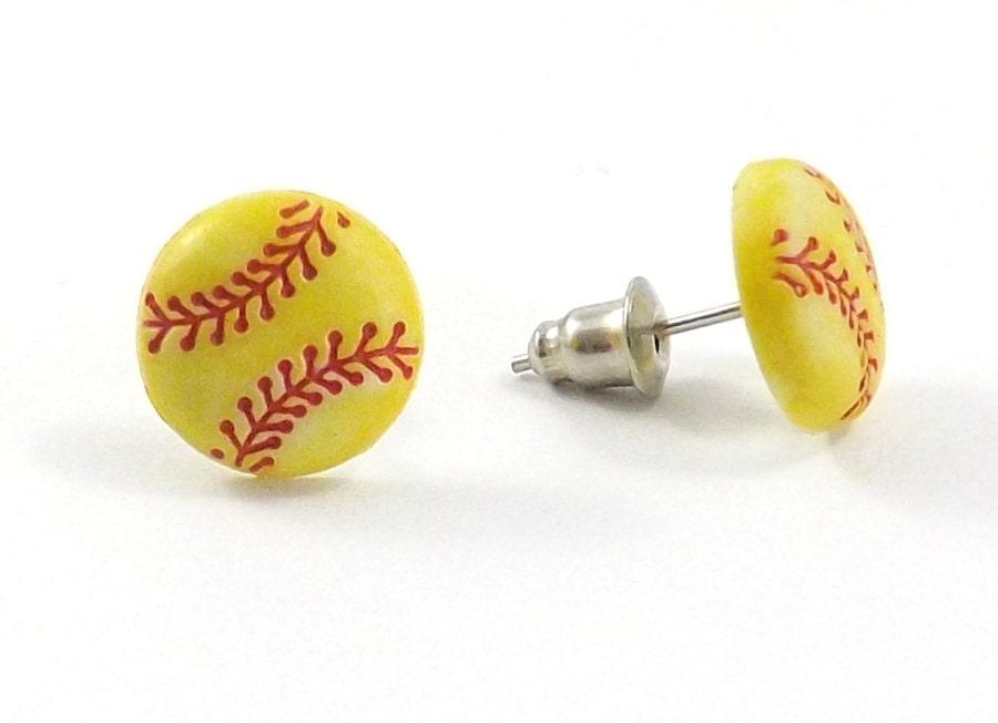 softball earrings tiny softball mini softball stud
