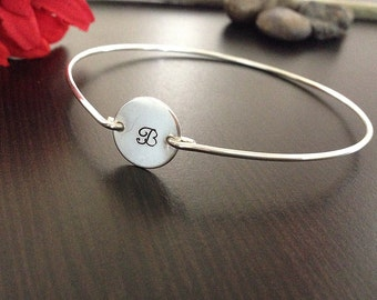 Personalized Hand stamped jewelry -Custom Bangle Initial- Sterling Silver- Bracelet