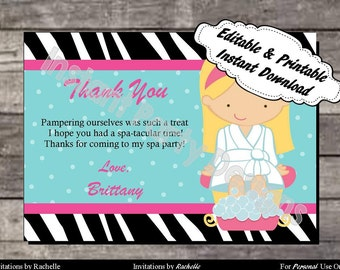 Spa Party Thank You Card Birthday - Editable Printable Digital File with Instant Download