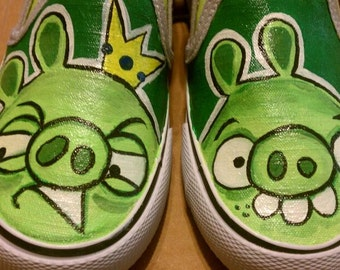Custom hand painted Angry Birds Bad Piggies Toddler Children's generic shoes