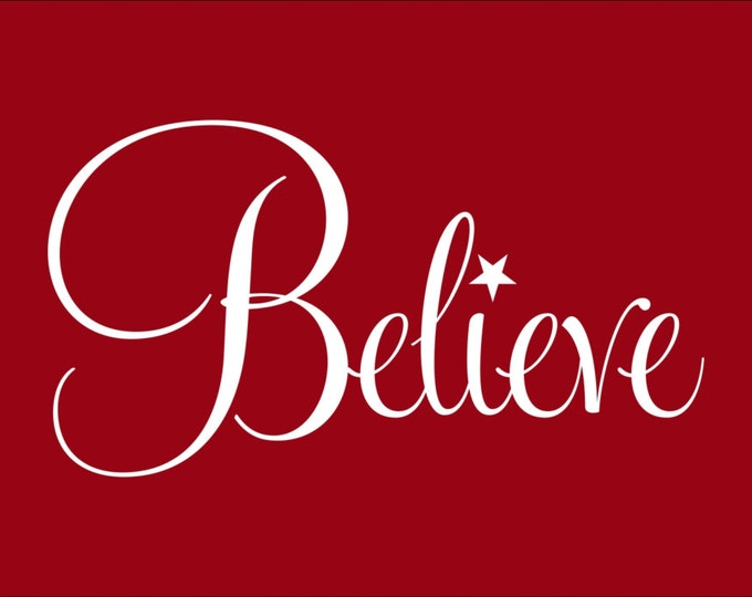 Believe with Star Vinyl Wall Decal or DIY Glass Block Idea for Handmade Christmas Gift or Christmas Decoration