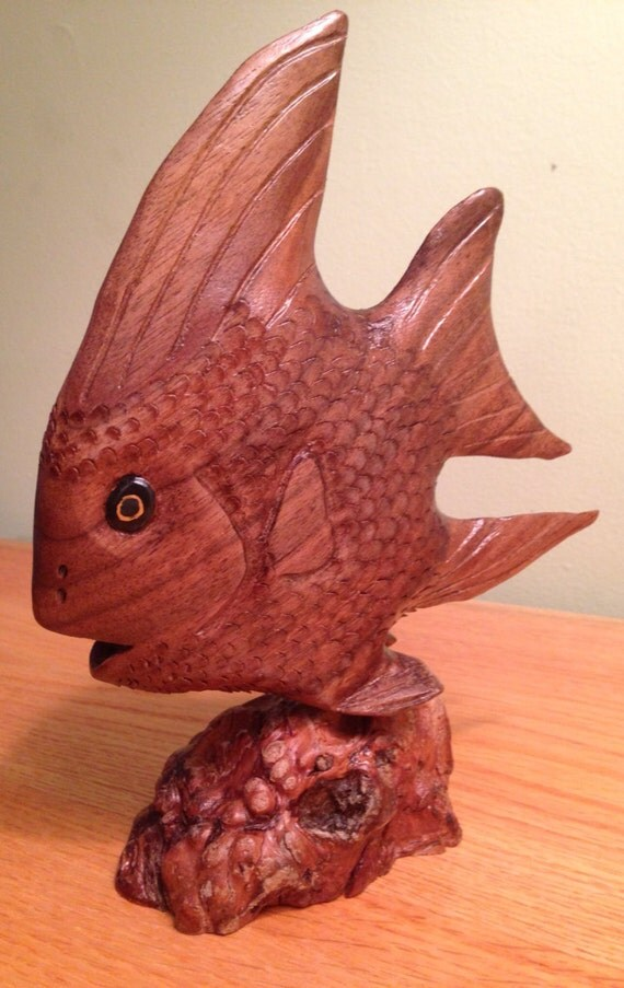 Items similar to sale natural angel fish wood carving