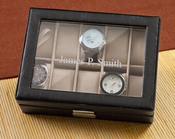 Personalized Men's Watch Box - Monogrammed Watch Box - Groomsmen Gifts - Father's Day Gifts - Gifts for Dad - GC1082