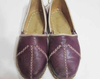 Turkish Yemeni Organic Hand Made Genuine Leather Shoes Purple
