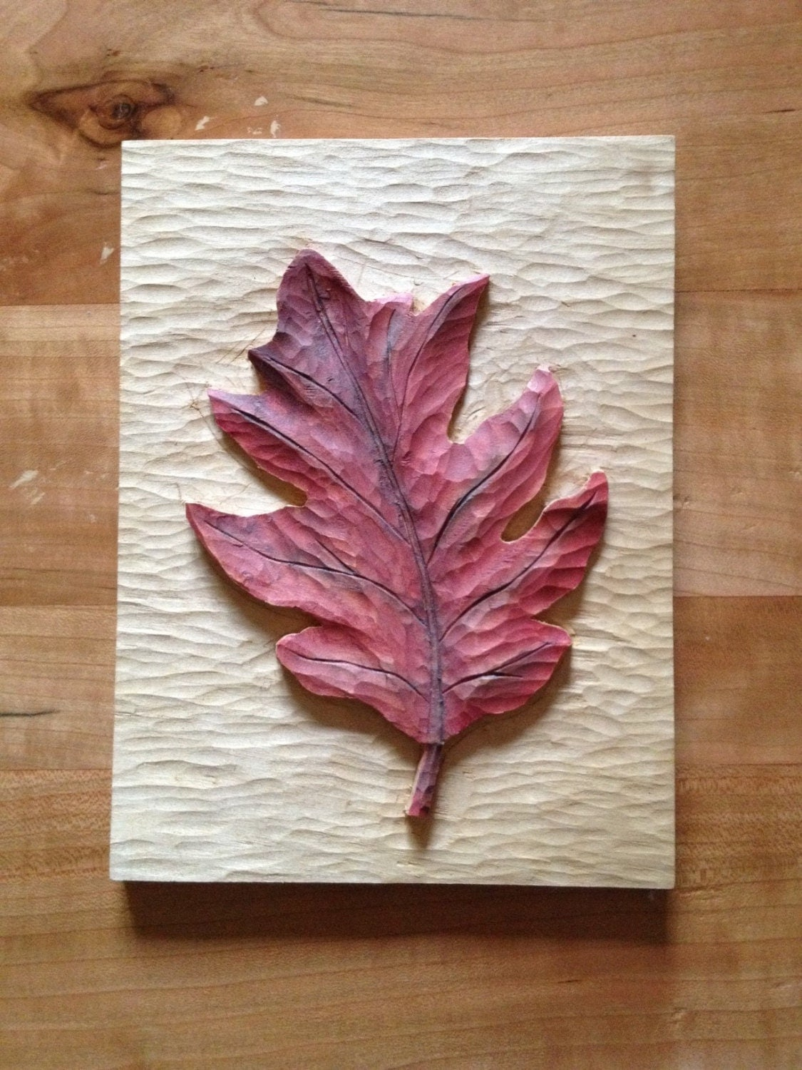 Relief carving oak leaf by msbart on etsy