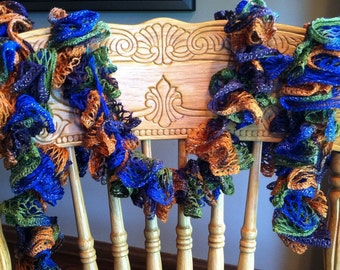 Crocheted frilly scarf