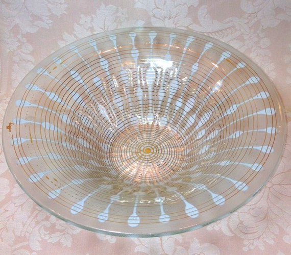 HIGGINS Classic LINE Console Bowl Fused Glass Gold and White