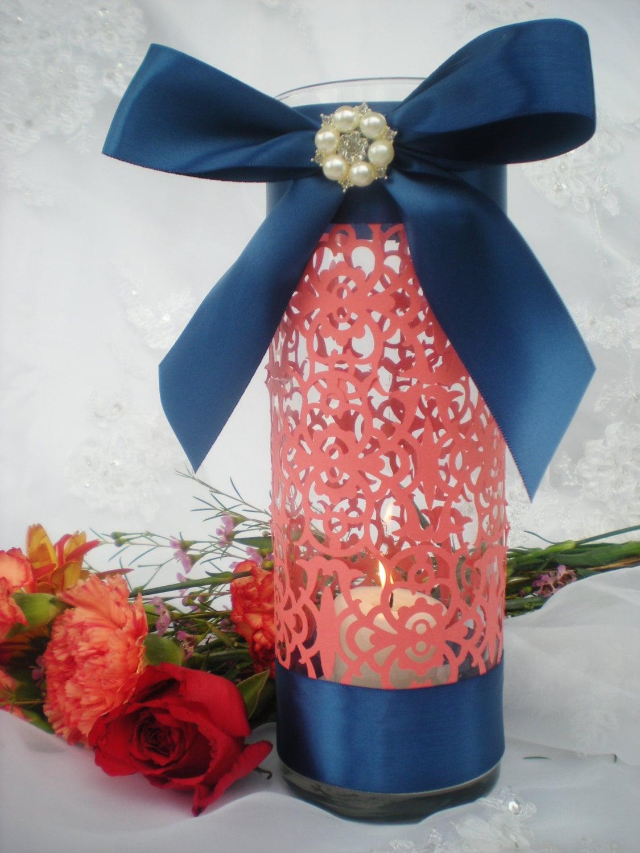 Wedding centerpiece tall coral navy blue intricate