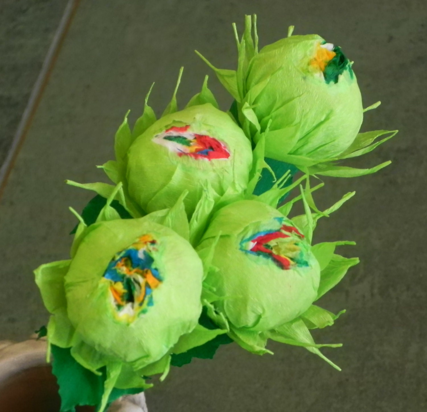 Mexican Crepe Paper Flowers Set of 4 Lime Green Carnivorous
