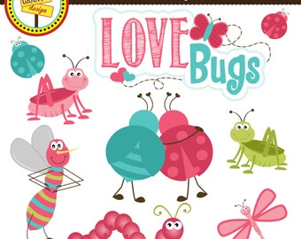 Valentine's Clipart - Love Bugs Clipart - Cute Digital Clip Art - Personal Use - Commercial Use - Card Design, Scrapbooking, Web Design