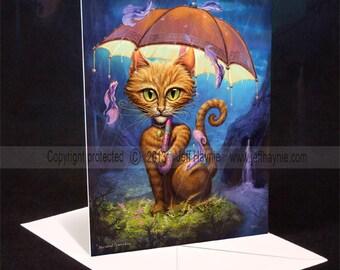 Cat greeting card // Cat painting // Orange Tabby Cat // Cat art print // Umbrella cat // Raining // Orange Tabby Cat // Cat Art