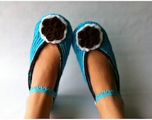Turquoise Crochet Slippers with Brown Edge and with Brown/White Flower,Accessories,Adult Crochet Slippers,Home Shoes, Crochet Women Slippers