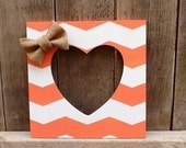 Coral chevron print frame with heart shaped opening - CozyCasaHomeDecor