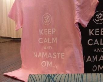 Keep calm Yoga shirt lifestyle pilates and health Tee Namaste T shirt carry on. comfortable cotton tshirt. keep calm and yoga pose on