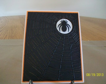 Big Black Spider Web Halloween Card