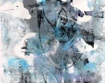 Limited Edition Print of original Acrylic Abstract Artwork - Blue and Black Flower - Monoprint and Stencil