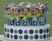 1 Dozen of Deliciously, Decorated, Custom Made to Order Monkey Cake Pops for your Party Favors
