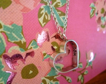 Sterling silver heart pendant handstamped with 'thank you'