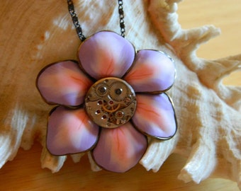 Gift for teenage girl Steampunk jewelry necklace The flowers smile, steam punk flower, bridesmaid surprise handmade decorated, gift wrapping