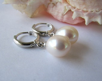 AA White Rice Fresh Water Pearl Earrings,Lavender Pearl Earrings,Hoops Earrings,Pearl Earrings,White Pearl Earrings,Dangle Pearl Earrings