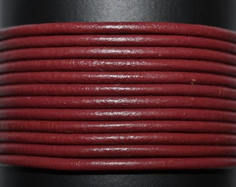 Corida Red / Burgundy / 1.5mm Leather Cord / leather by the yard / round leather cord / genuine leather / necklace cord / bracelet cord