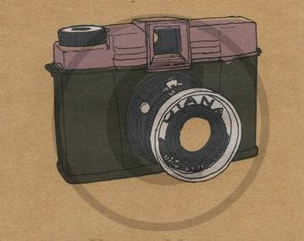 Screenprint of Vintage Diana Camera - Five Layer Portrait Format Screenprint Dark Green/Pink/Silver/Dark Grey on Brown Heavyweight Art Paper