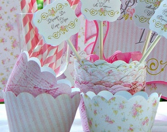 Princess Cupcake Wrappers: Set of 15, Shabby Chic Birthday Party
