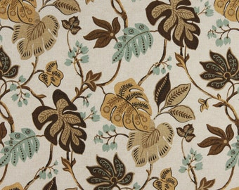 Brown, Gold And Aqua Floral Leaf, Indoor And Outdoor Multipurpose And Upholstery Fabric By The Yard
