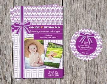 1st Baby Girl Birthday Invitations