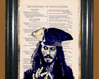 Capt. Jack Sparrow Art - Vintage Dictionary Page Book Art Print Upcycled Page Art Deco Print