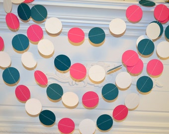 Paper  garland 10ft, birthday decor, party decor, wedding garlands, wedding decorations, pink teal, white