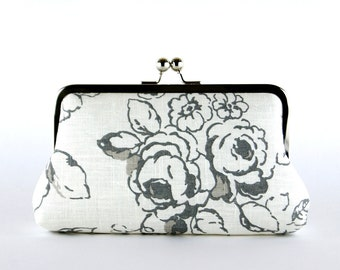 Bridesmaid Clutch, Roses in Charcoal Clutch, Silk Lining, Bridesmaid Gift, Wedding clutch, Charcoal and Natural collection
