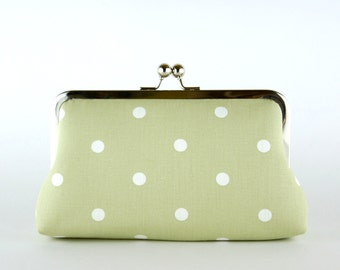 Bridesmaid Clutch, Dotty in Sage Green Clutch, Silk Lining, Bridesmaid Gift, Wedding clutch, Sage Green & Pink collection