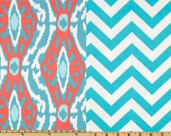 SALE 15% OFF Reversible Duvet Cover Ikat Aqua and Coral Dorm Twin, Twin and Full / Queen & King