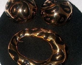 Vintage Costume Jewelry Bold Brooch Pin & Clipback Earrings, WAS 25.00 - 20% = 20.00