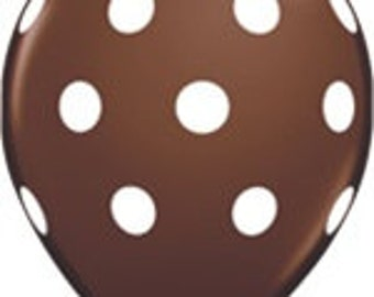 10 - Latex Brown & White Polka Dot Balloons birthday party supplies