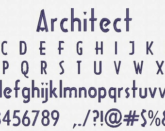 Architect Font Embroidery Design