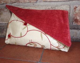 SALE! - Silk velvet / chenille clutch evening bag