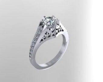 Edwardian Engagement Ring Diamond Engagement Ring Sapphire Engagement Ring 14K White Gold Bridal Ring Wedding Anniversary Birthday - V1056